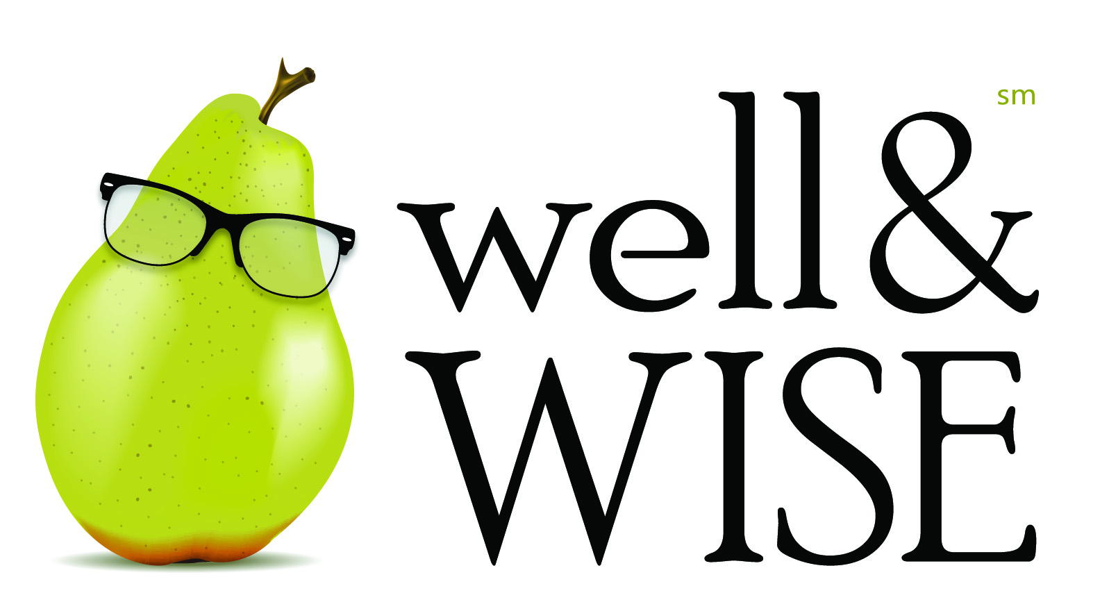 Pear with glasses well and wise logo