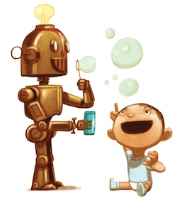 Robot blowing bubbles over head of laughing infant