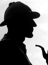silhouette of sherlock holmes